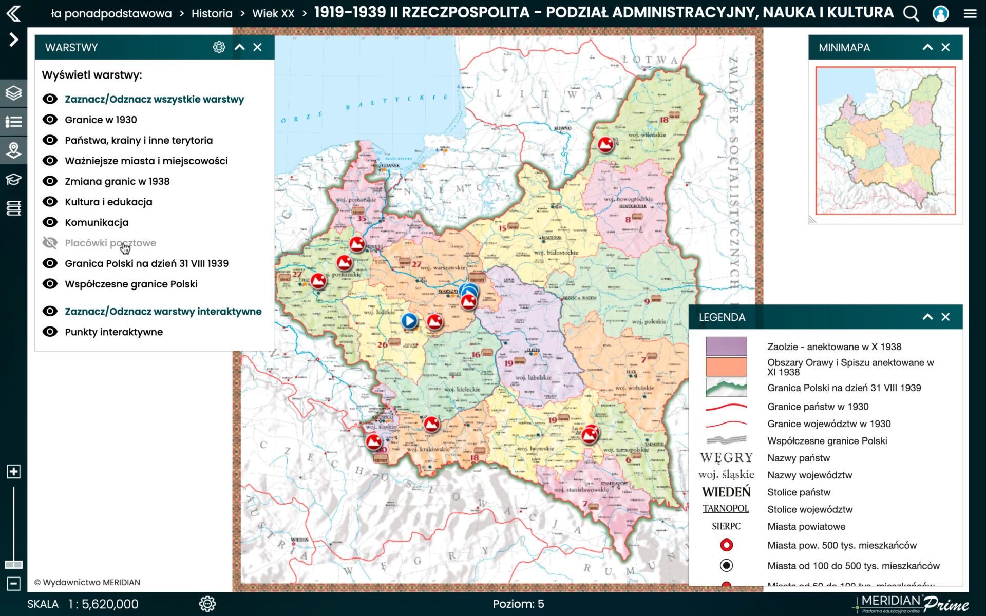 1919-1939 II Rzeczpospolita - podział administracyjny, nauka i kultura